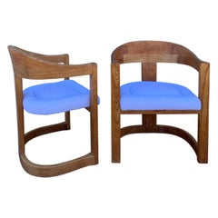 Pair of Oak Onassis Chairs by Karl Springer Mid-Century Modern