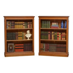 Pair of Oak Open Bookcases