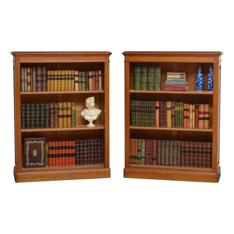 Pair of Oak Open Bookcases For Sale