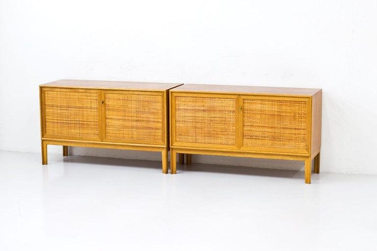 Scandinavian Modern Pair of Oak & Rattan Sideboards by Alf Svensson, Sweden, 1960s