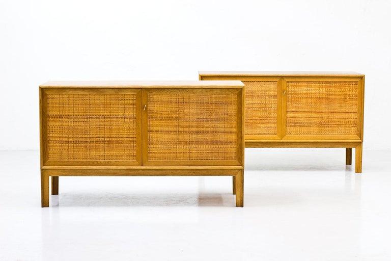 Swedish Pair of Oak & Rattan Sideboards by Alf Svensson, Sweden, 1960s