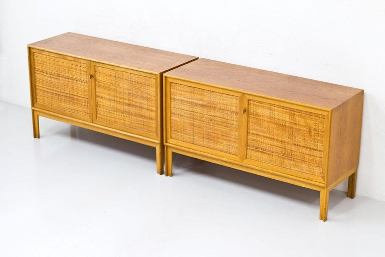 20th Century Pair of Oak & Rattan Sideboards by Alf Svensson, Sweden, 1960s