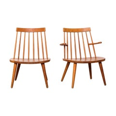 Pair of Oak 'Sibbo' Easy Chairs by Yngve Ekström for Stolab, Sweden, 1950s