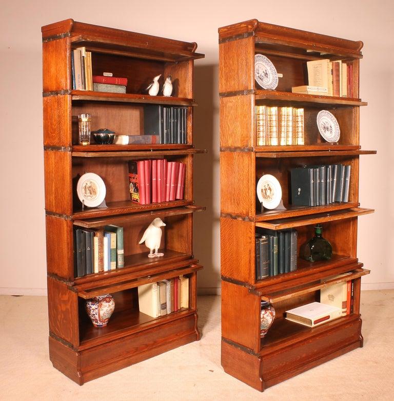 Edwardian Pair of Oak Stacking Bookcase Globe Wernicke For Sale