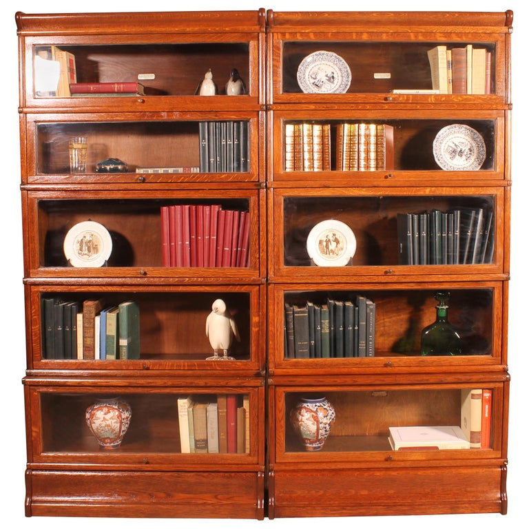 Pair of Oak Stacking Bookcase Globe Wernicke For Sale