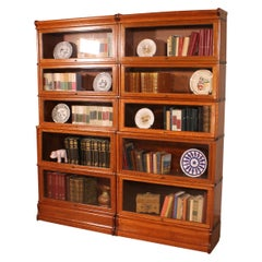 Pair of Oak Stacking Bookcases in Oak-5 Elements-Globe Wernicke