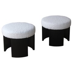 Pair of Oak Stools in Wool Upholstery