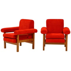 Pair of Oak Upholstered Armchairs by Erberto Carboni