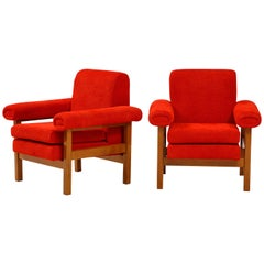 Pair of Oak Upholstered Armchairs by Raffaella Crespi