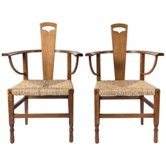 Pair of Oak Wood Armchairs, Attributed to George Walton, Scotland, circa 1890