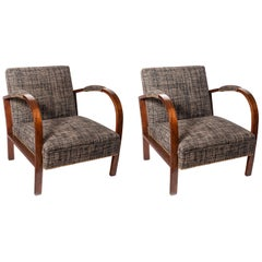 Pair of Oakwood and Fabric Armchairs, Art Deco Period, France, circa 1940