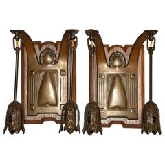 Pair of Oakwood, Bronze and Metal Sconces, England, Late 19th Century