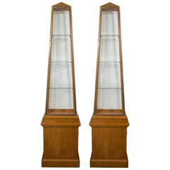 Pair of Obelisk Display Vitrines by Andre Arbus