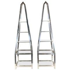 Pair of Obelisk Étagères in Polished Aluminum