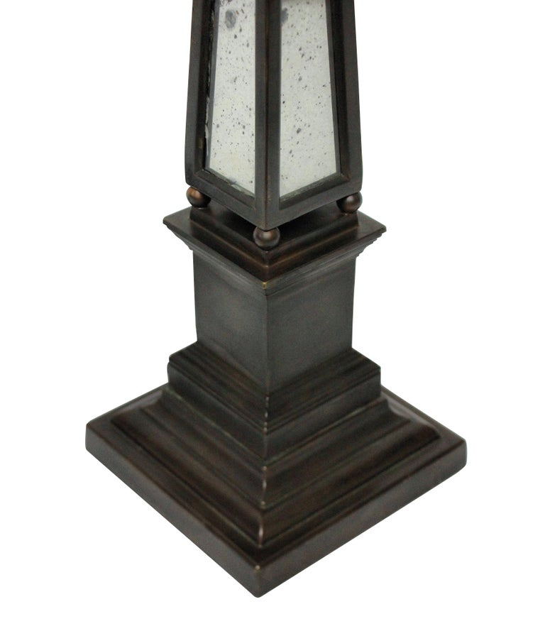 Pair of Obelisk Lamps with Mirror Panels In Good Condition In London, GB