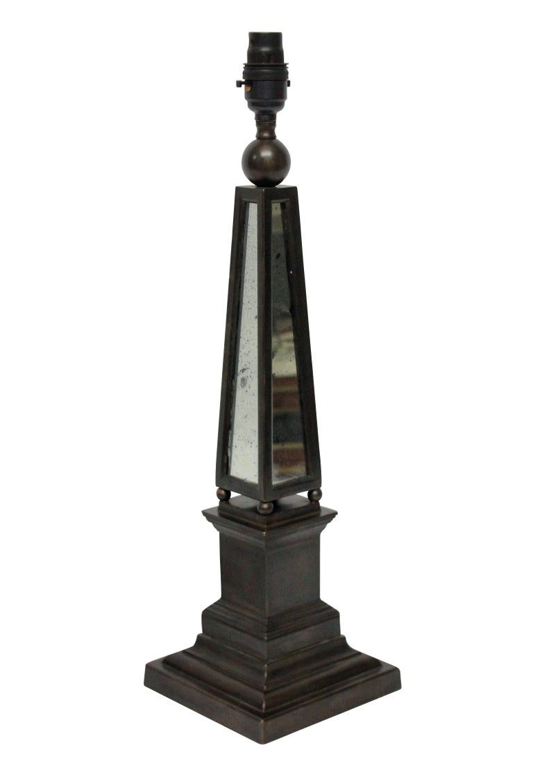 Late 20th Century Pair of Obelisk Lamps with Mirror Panels
