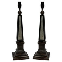 Pair of Obelisk Lamps with Mirror Panels