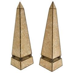 Pair of Obelisks with Travertine and Marble Veneer