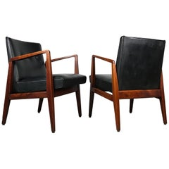Pair of Occasional Lounge Chairs by Jens Risom Walnut and Black Vinyl Original