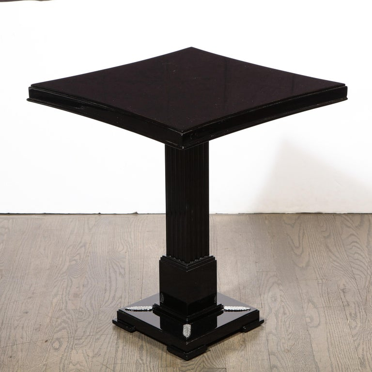 Pair of Occasional Tables in Black Lacquer with Pedestal Bases by Grosfeld House In Excellent Condition For Sale In New York, NY
