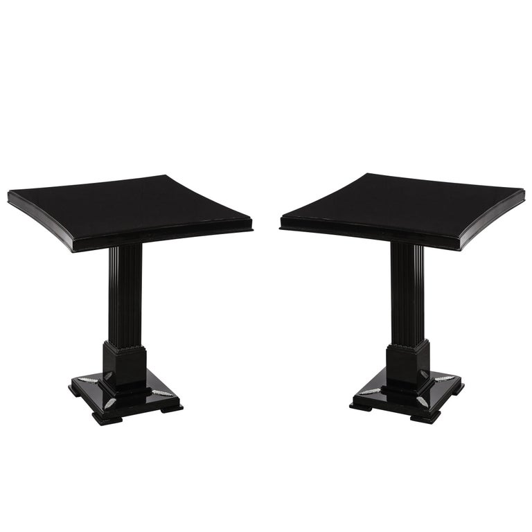 Pair of Occasional Tables in Black Lacquer with Pedestal Bases by Grosfeld House For Sale