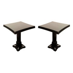 Pair of Occasional Tables in Ebonized Mahogany with Pedestal Bases by James Mont