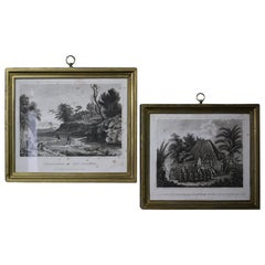 Pair of Oceania and Pacific Island Engravings in Gilt Frames Captain Cook
