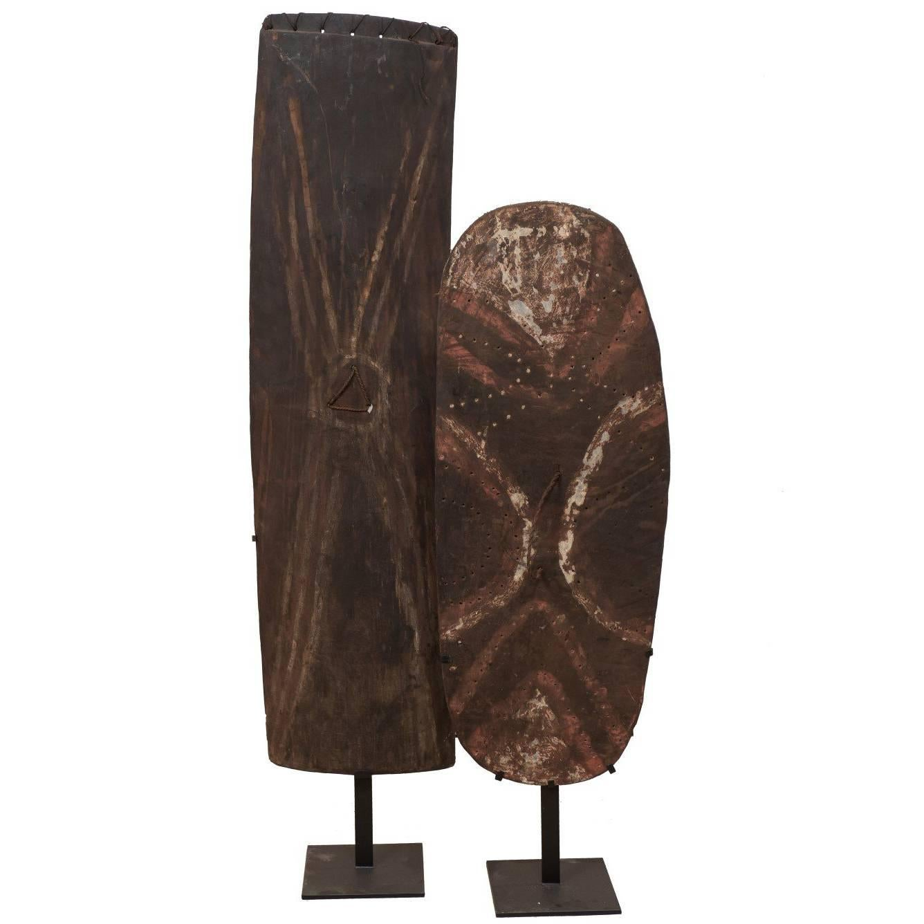 Pair of Oceanic War Shields on Stands from Papua New Guinea