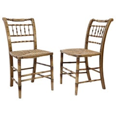 Pair of Ocher-Painted Faux Bamboo Side Chairs