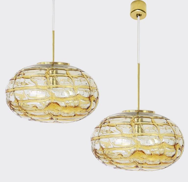 Mid-Century Modern Pair of Ochre Yellow Murano Glass Pendant Lamp, 1960s For Sale