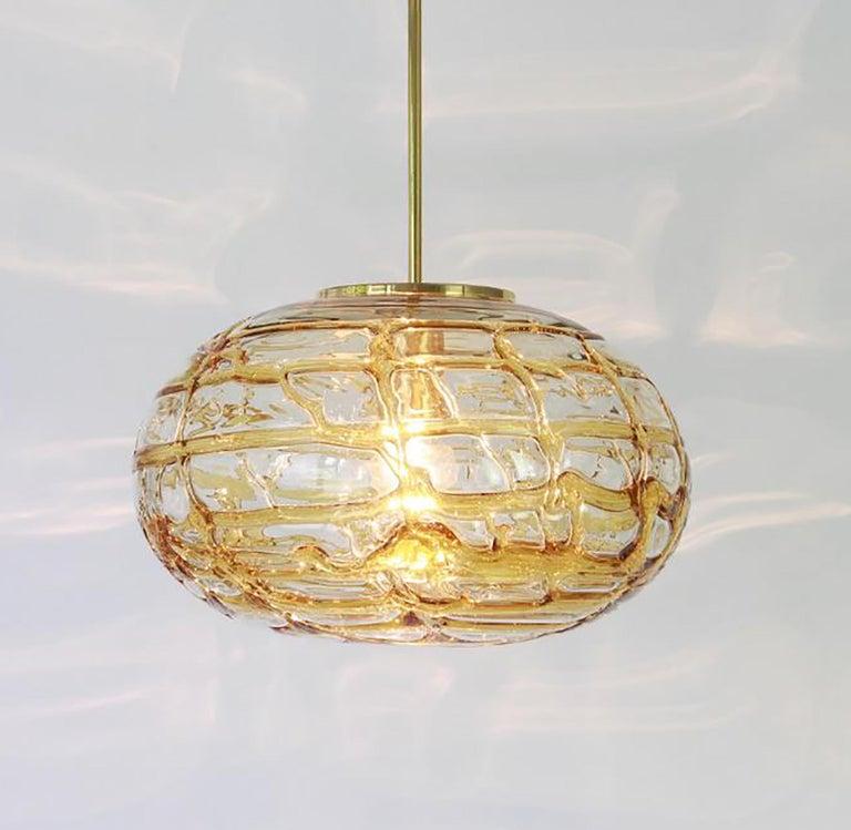 Italian Pair of Ochre Yellow Murano Glass Pendant Lamp, 1960s For Sale