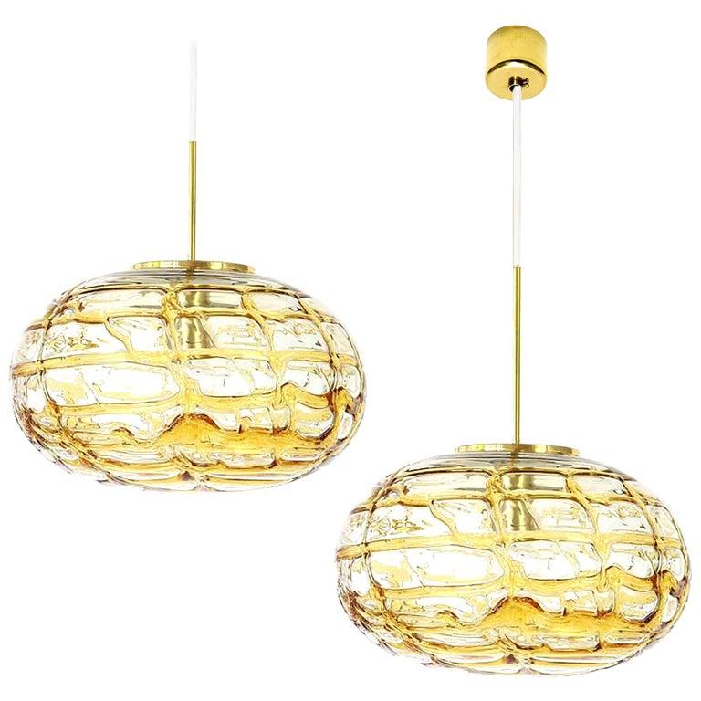 Pair of Ochre Yellow Murano Glass Pendant Lamp, 1960s For Sale