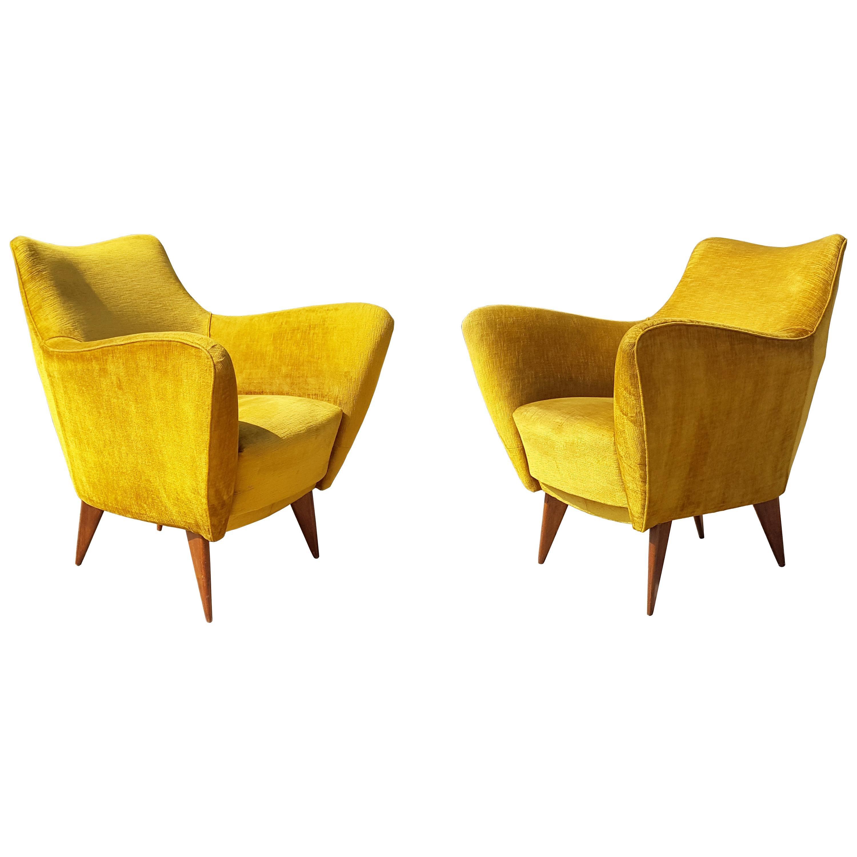 Pair of Ocra Yellow Velvet and Wood 1950s Perla Armchair by G. Veronesi for ISA