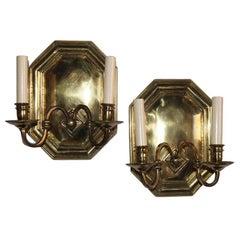 Pair of Octagonal Bronze Sconces