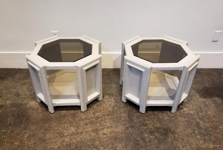 1980s side tables redone in a Brutalist Memphis furniture style with hand-applied faux concrete finish. Octagonal shape with sculptural panels on side and smoked octagonal glass inserts on top.