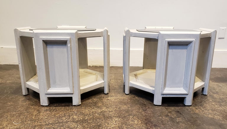 Hand-Painted Pair of Octagonal Brutalist Memphis Side Tables with Faux Concrete Finish For Sale