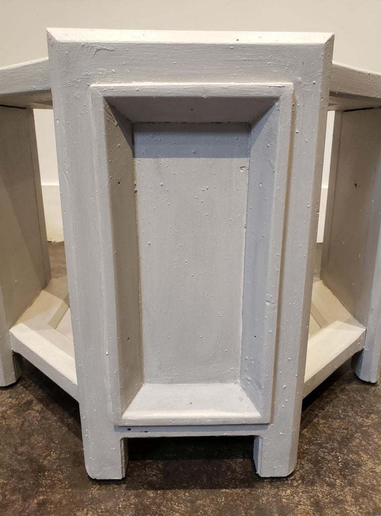 Pair of Octagonal Brutalist Memphis Side Tables with Faux Concrete Finish In Good Condition For Sale In Dallas, TX