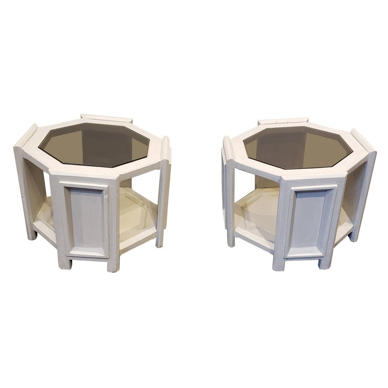 Pair of Octagonal Brutalist Memphis Side Tables with Faux Concrete Finish For Sale