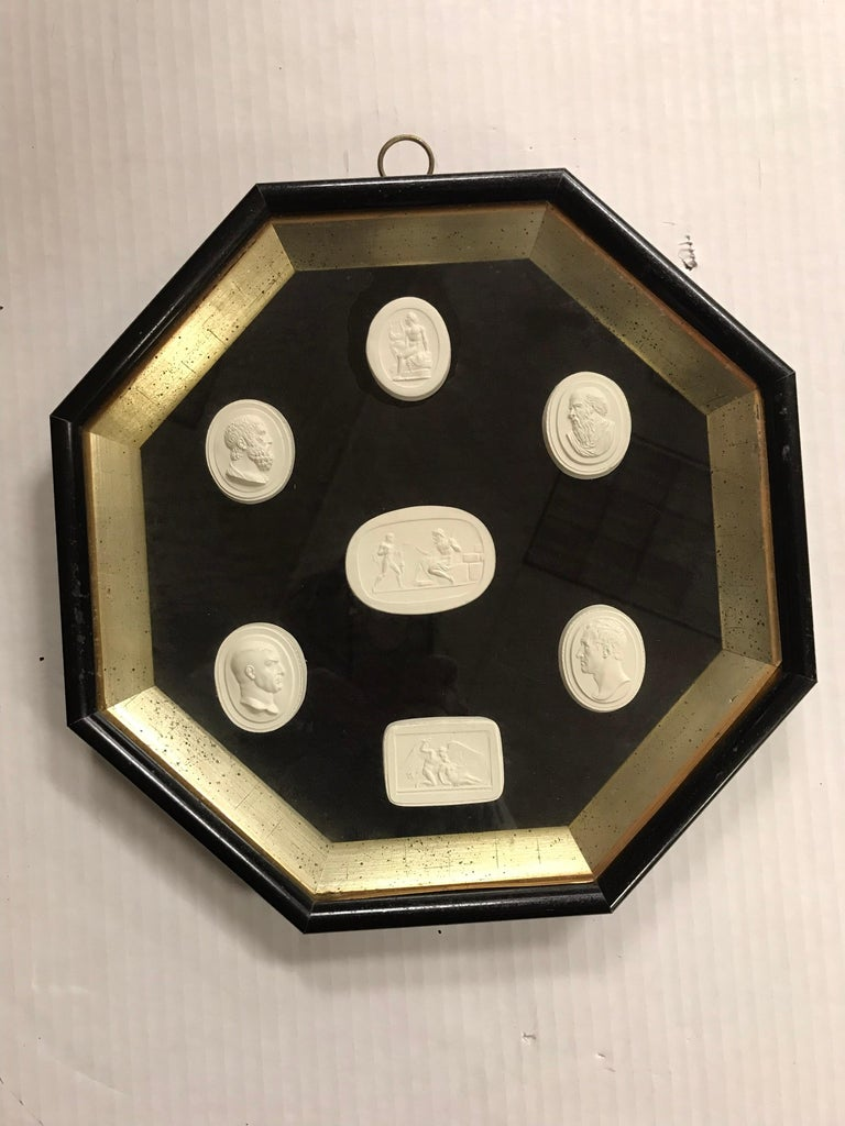 Neoclassical Pair of Octagonal Framed 14 Plaster Intaglios For Sale