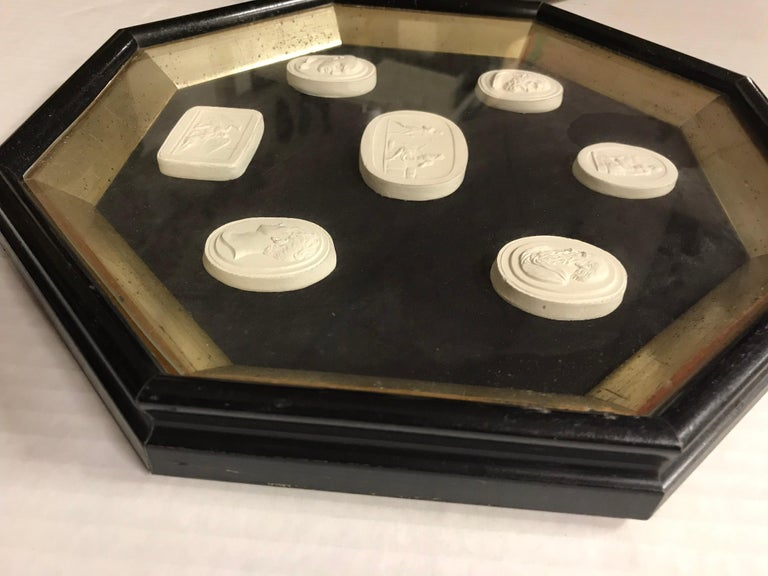 Mid-20th Century Pair of Octagonal Framed 14 Plaster Intaglios For Sale