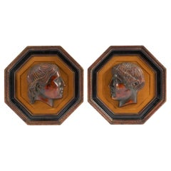Pair of Octagonal Framed 'Pompeiian Red' Pottery Roman Medallions