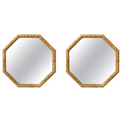 Pair of Octagonal Giltwood Mirrors, circa 1900