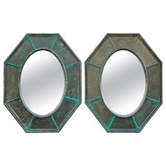 Pair of Octagonal Green Wood Mirrors Decorated with Metallic Effect, Early '900