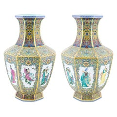 Pair of Octagonal Multicolored Chinese Vases