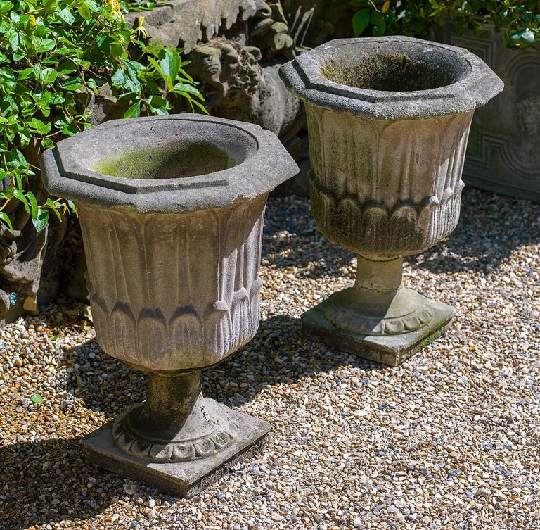 English Pair of Octagonal Reconstituted Stone Urns For Sale