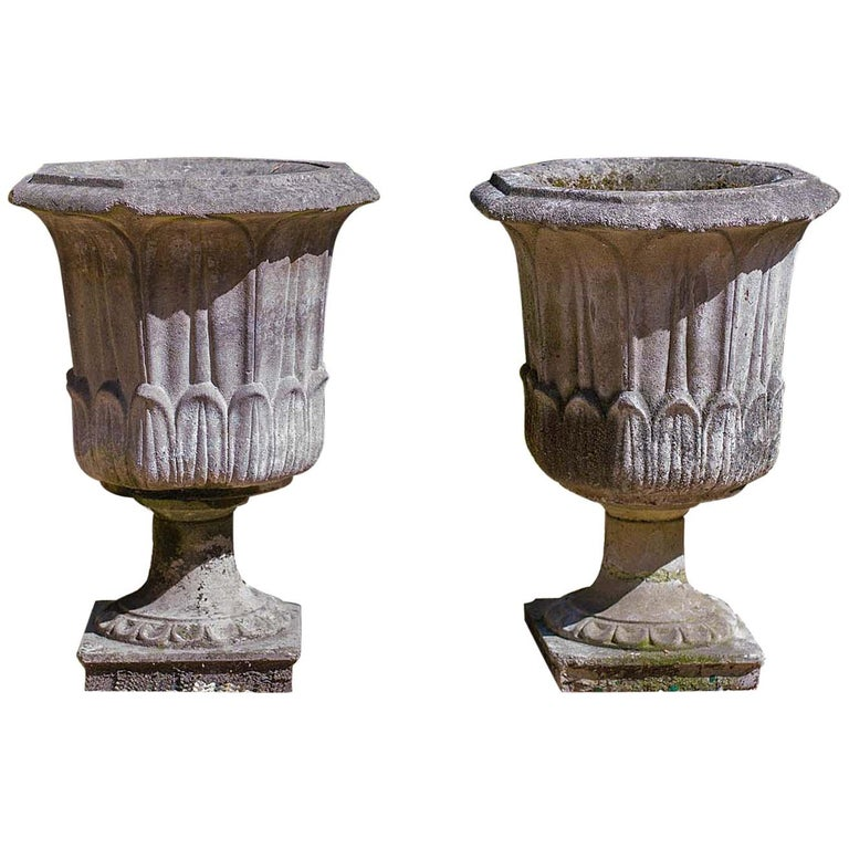 Pair of Octagonal Reconstituted Stone Urns For Sale