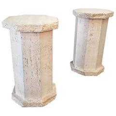 Pair of Octagonal Travertine Columns