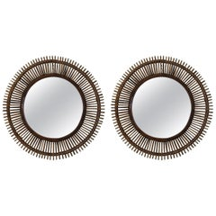Pair of 'Oculus' Round Rattan Mirrors