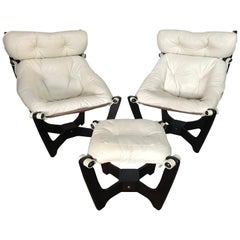 "Pair of Odd Knutsen ""Luna"" Sling Lounge Chairs and Footstool"