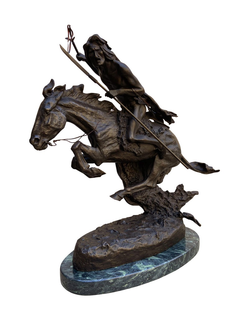Pair of well executed bronze sculptures by Frederic Remington. These are large and extremely heavy. Pair as shown. Both signed.